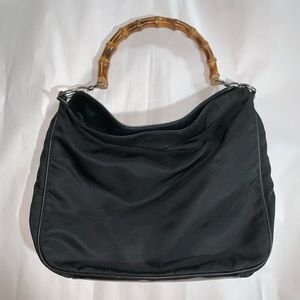 auth GUCCI oversized nylon/leather shoulderbag